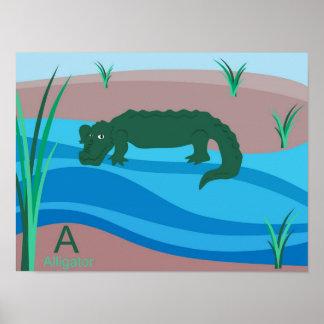A for alligator poster