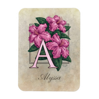 A for Azalea Floral Monogram Magnet