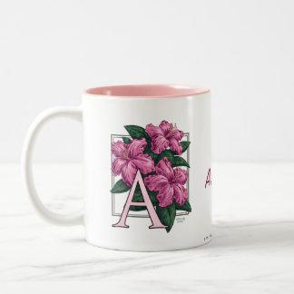 A for Azalea Flower Monogram and Name Mug