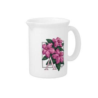 A for Azalea Flower Monogram Art Drink Pitcher