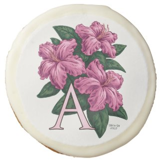 A for Azalea Flower Monogram Art Sugar Cookie