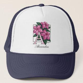 A for Azalea Flower Monogram Hat