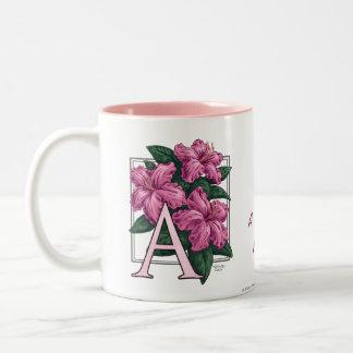 A for Azalea Flower Monogram Mug
