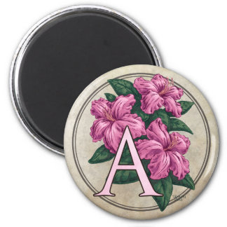 A for Azalea Flower Monogram Round Magnet