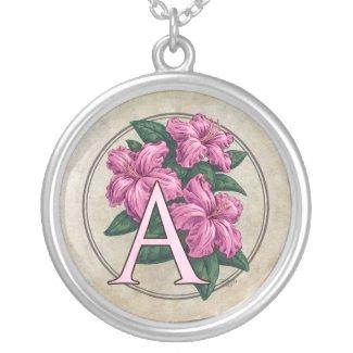 A for Azalea Flower Monogram Round Necklace necklace