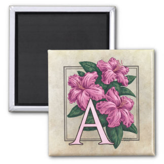 A for Azalea Flower Monogram Square Magnet
