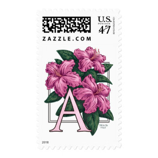 A for Azalea Monogram Flower Postage