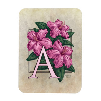 A for Azaleas Flower Monogram Magnet