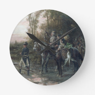 A Foraging Party Returning to Camp (oil on canvas) Round Wall Clocks