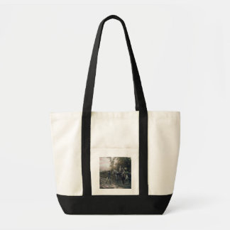 A Foraging Party Returning to Camp (oil on canvas) Tote Bag