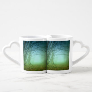 A Forest With Fog Couples Coffee Mug