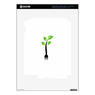 A fork with green leaves iPad 3 decal