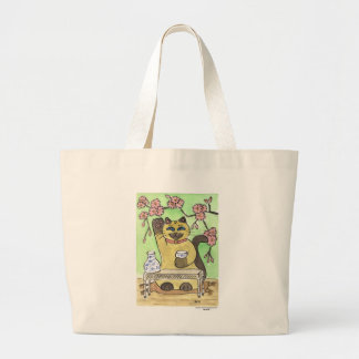 A Fortunate Sake Moment Beneath Cherry Blossoms Large Tote Bag