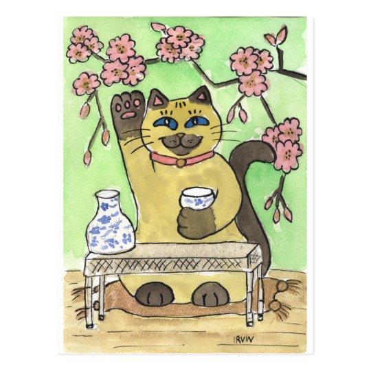 A Fortunate Sake Moment Beneath Cherry Blossoms Postcard