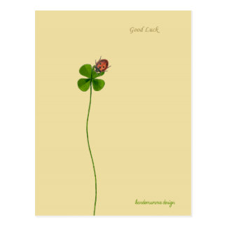 A Four clover and a ladybug to wish Good Luck Postcard