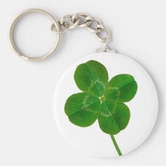 A Four Leaf Clover Basic Round Button Keychain