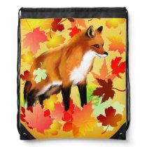 A FOX in FALL Drawstring Bag