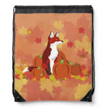 A Fox in the Pumpkin Patch Drawstring Backpack