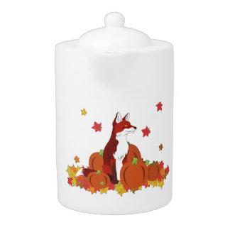 A Fox in the Pumpkin Patch Teapot