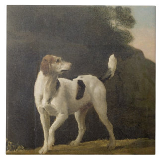 A Foxhound, c.1760 (oil on paper laid on board) Large Square Tile