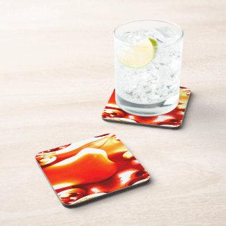 A Fractal Traced Pumpkin Drink Coaster
