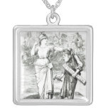 A French Lesson', cartoon from 'Punch' Square Pendant Necklace