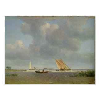 A fresh breeze on the Elbe, c.1830 Poster