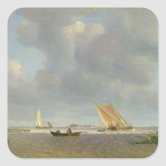 A fresh breeze on the Elbe, c.1830 Square Sticker
