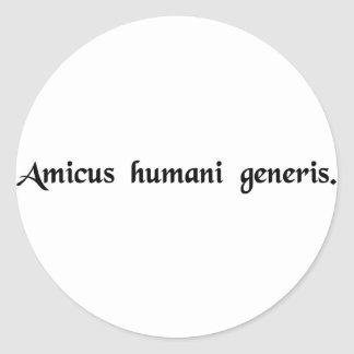 A friend of the human race classic round sticker