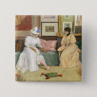 A Friendly Call, 1895 (oil on canvas) Button