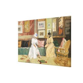 A Friendly Call, 1895 (oil on canvas) Canvas Print