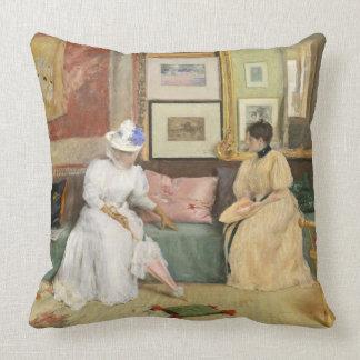 A Friendly Call, 1895 (oil on canvas) Throw Pillow