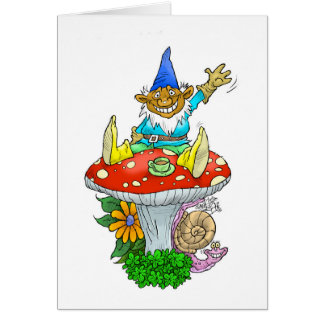 A friendly Gnome on a greeting card. Card