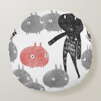 A friendly visit to the bunnyland 2014 round pillow