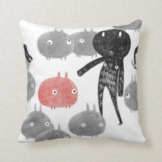 A friendly visit to the bunnyland 2014 throw pillow