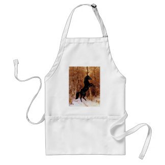 A friesian in winter snow adult apron