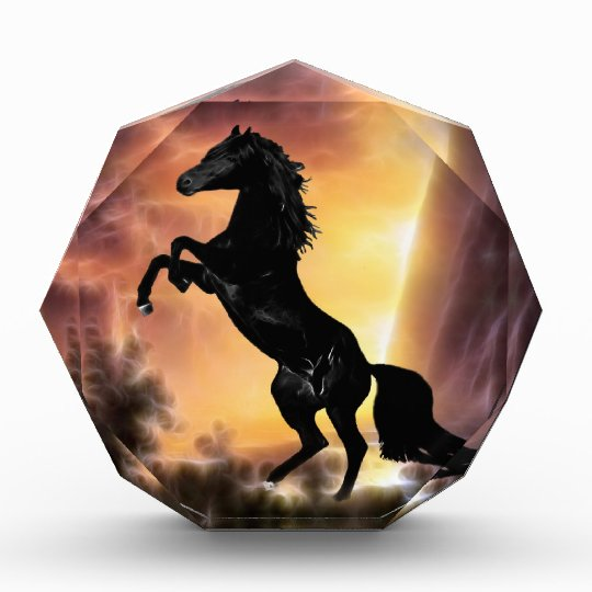 A Friesian Stallion horse rearing Acrylic Award