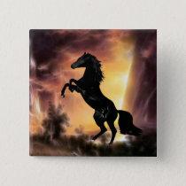 A Friesian Stallion horse rearing Button
