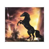 A Friesian Stallion horse rearing Canvas Print