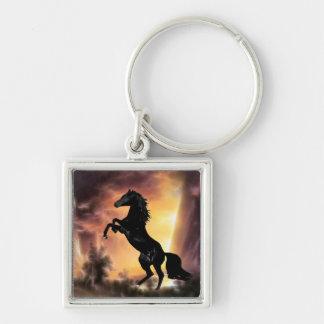 A Friesian Stallion horse rearing Keychain