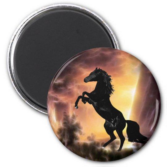 A Friesian Stallion horse rearing Magnet
