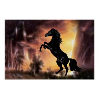 A Friesian Stallion horse rearing Poster
