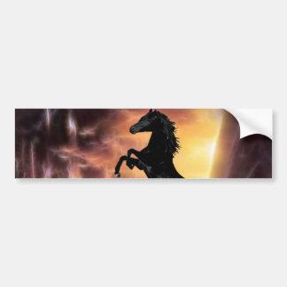 A friesian stallion rearing car bumper sticker