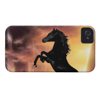 A friesian stallion rearing iPhone 4 cases