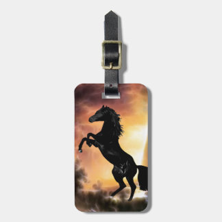 A friesian stallion rearing luggage tag