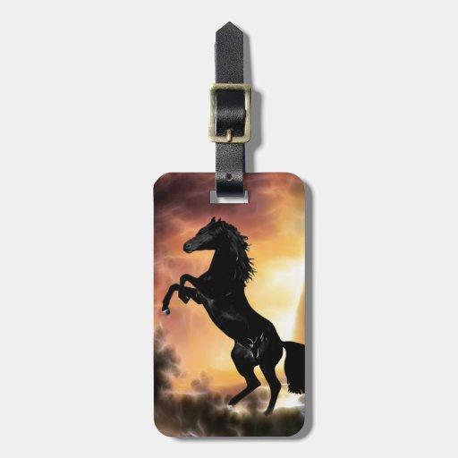 A friesian stallion rearing luggage tag