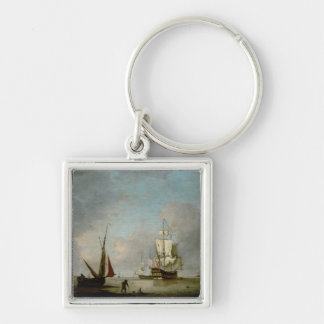 A Frigate in Calm Water Silver-Colored Square Keychain