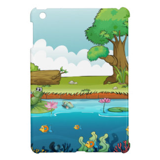 A frog and fishes in the river iPad mini cases