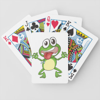 a frog bicycle playing cards