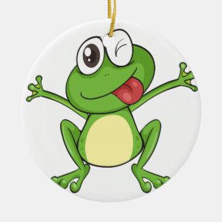 a frog ceramic ornament